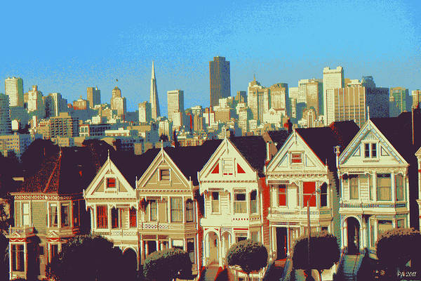 Drawing - Alamo Square San Francisco - Digital Art Painting by Peter Potter