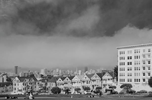 Wall Art - Photograph - Painted Ladies With Sf Skyline In The Distance - San Francisco California by Silvio Ligutti