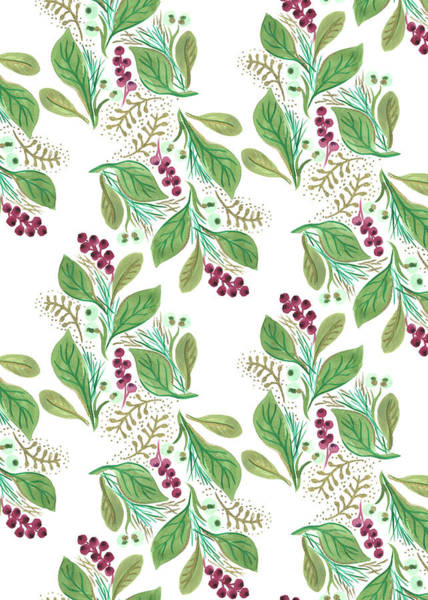 Wall Art - Painting - Painted Nature Coordinating Foliage Leaves Festive Pattern.jpg by MGL Meiklejohn Graphics Licensing