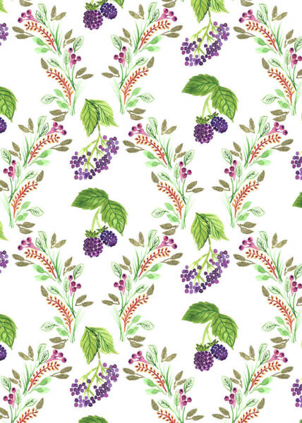 Wall Art - Painting - Painted Nature Damask Style Foliage With Brambles And Elderberries.jpg by MGL Meiklejohn Graphics Licensing