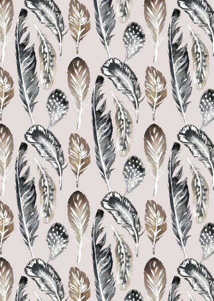 Wall Art - Painting - Painted Nature Feathers Watercolour Alternate On Soft Pink.jpg by MGL Meiklejohn Graphics Licensing