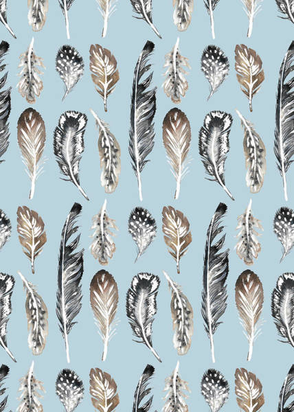 Wall Art - Painting - Painted Nature Feathers Watercolour On Blue.jpg by MGL Meiklejohn Graphics Licensing