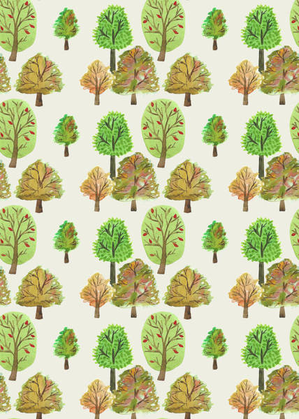 Wall Art - Painting - Painted Nature Trees Multi Watercolour Autumnal Print.jpg by MGL Meiklejohn Graphics Licensing