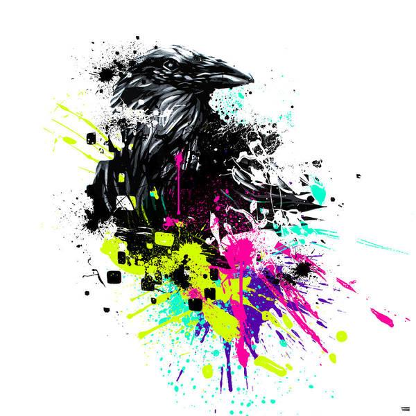 Raven Digital Art - Painted Raven by Jeremy Scott