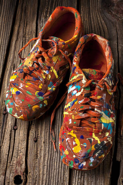 Wooden Shoe Photograph - Painted Tennis Shoes by Garry Gay