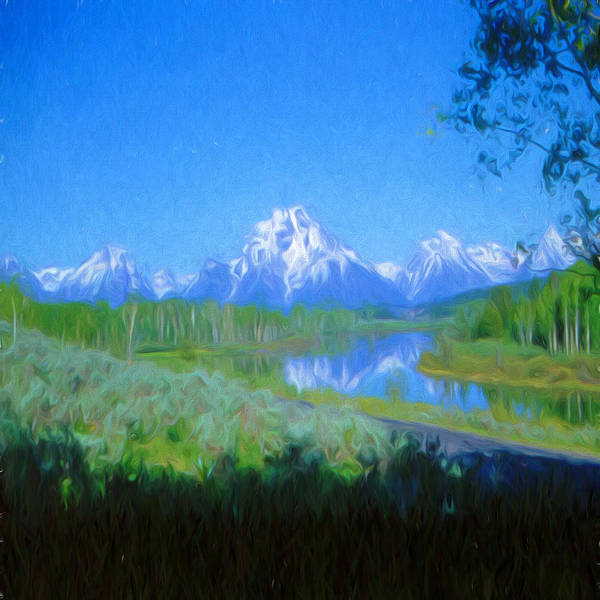 Teton National Park Digital Art - Painted Tetons by Cathy Anderson