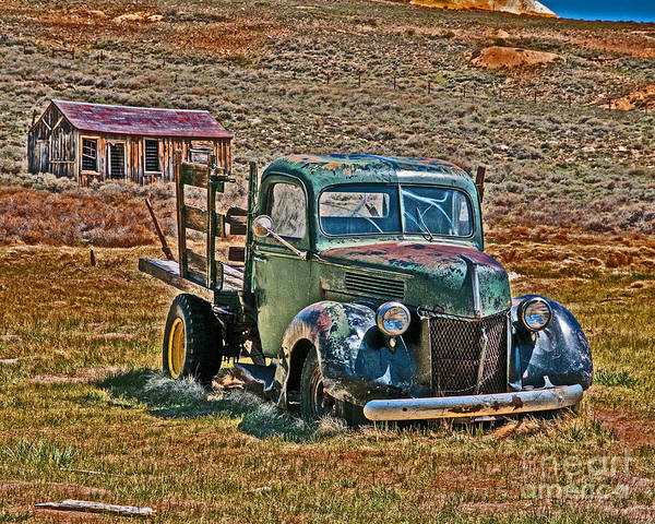 Bodie Ghost Town Wall Art - Photograph - Painted Truck by Stephen Whalen