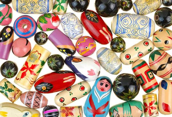 Beading Photograph - Painted Wooden Beads by Jim Hughes