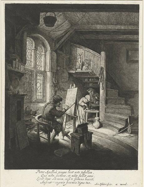 Wall Art - Painting - Painter In His Studio, Adriaen Van Ostade by Adriaen Van Ostade And Anonymous