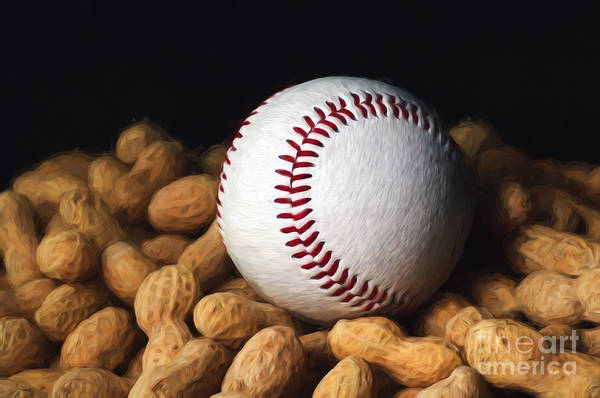Mixed Media - Painterly Baseball And Peanuts by Andee Design