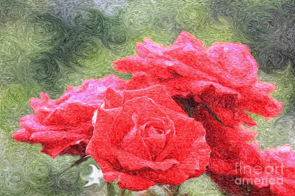 Photograph - Painterly Red English Roses With Green Swirls by Beverly Claire Kaiya