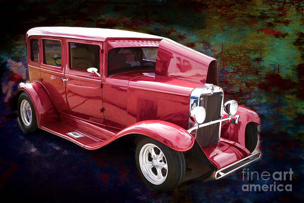 Photograph - Painting 1929 Chevrolet Classic Car Automobile Color Red 3132.03 by M K Miller