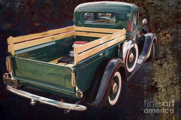 Painting - Painting 1937 Ford Pickup Truck Spare Tire Classic Car In Color  by M K Miller