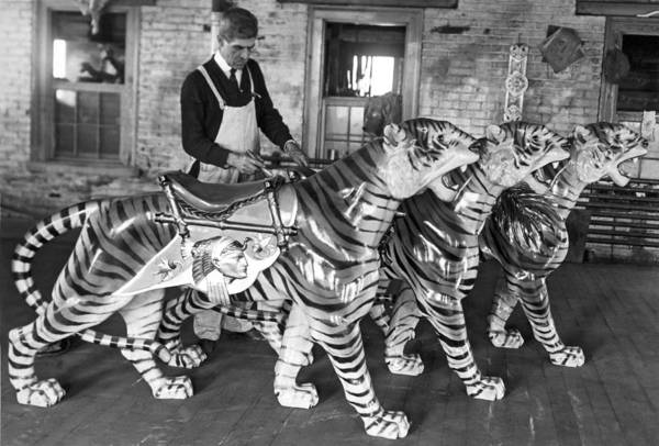 1915 Photograph - Painting Carousel Animals by Underwood Archives