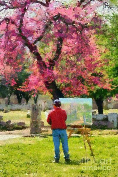 Peloponnese Painting - Painting In Ancient Olympia by George Atsametakis