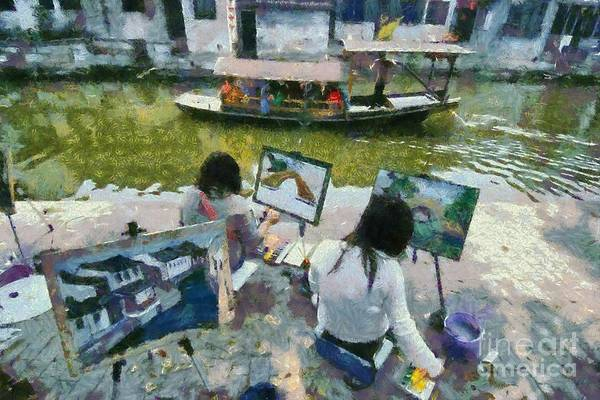 China Town Painting - Painting In Xi Tang by George Atsametakis