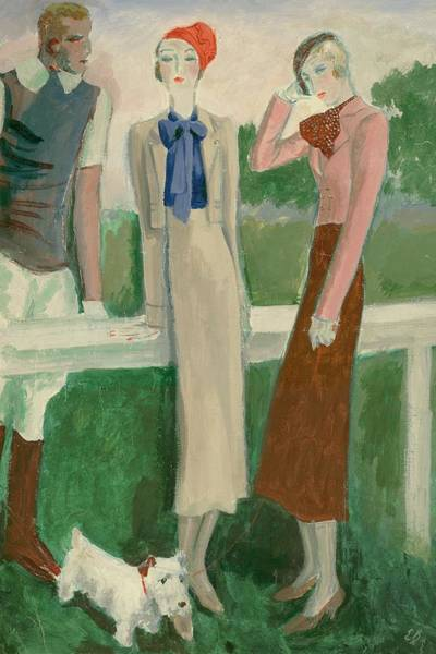 Painting Of A Fashionable Man And Two Women Art Print