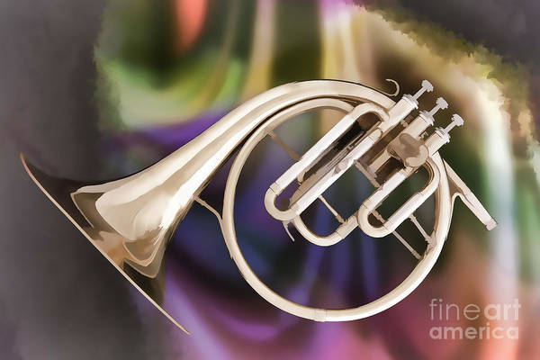 Photograph - Painting Of A French Horn Antique Classic In Color 3430.02 by M K Miller