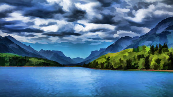 Art In Canada Painting - Painting Of A Lake And Mountains by Ron Harris
