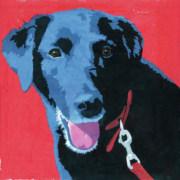 Leash Painting - Painting Of Black Labrador Dog by Ikon Ikon Images