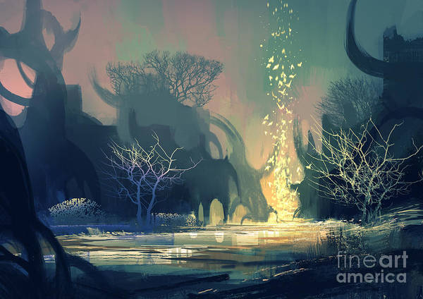Mystery Digital Art - Painting Of Fantasy Landscape With by Tithi Luadthong