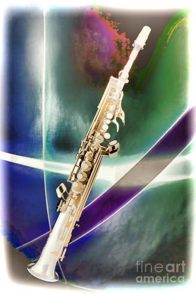 Painting - Painting Of Music Soprano Saxophone In Color 3340.02 by M K Miller