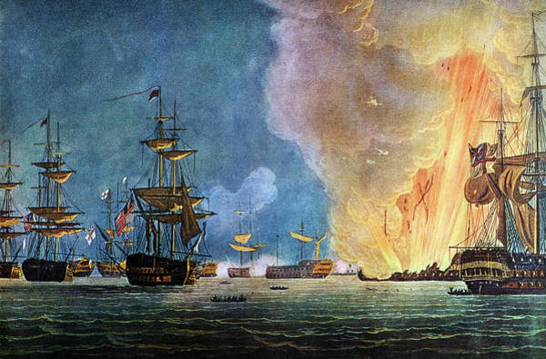 Nile Painting - Painting Of The Battle Of The Nile by Vintage Images