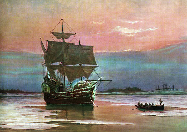 Settlers Painting - Painting Of The Ship The Mayflower 1620 by Vintage Images