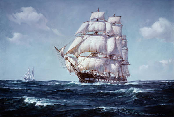 Wall Art - Painting - Painting Of The Square Rigged Frigate by Vintage Images