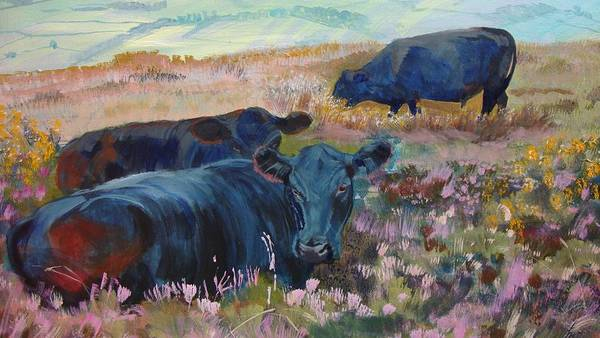 Painting Of Three Black Cows In Landscape Without Sky Art Print