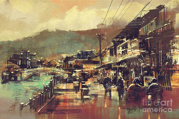 Scene Digital Art - Painting Of Village With A Bridge And by Tithi Luadthong