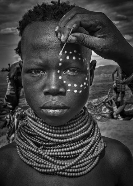 Hand Painted Photograph - Painting The Face Of A Karo Tribe Girl (omo Valley-ethiopia) by Joxe Inazio Kuesta