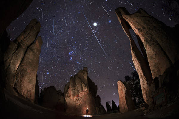 Shooting Star Wall Art - Photograph - Painting The Needles Under The Geminids Meteor Shower by Mike Berenson