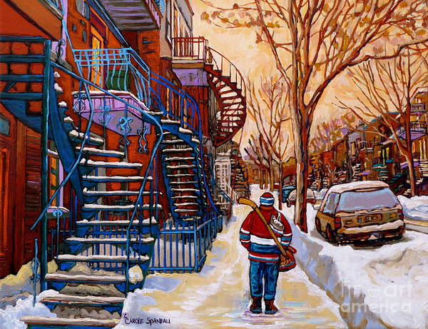 Montreal Street Scene Painting - Paintings Of Montreal Beautiful Staircases In Winter Walking Home After The Game By Carole Spandau by Carole Spandau