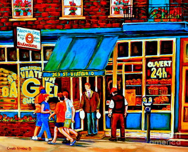 Painting - Paintings Of Montreal Memories Bagel And Bread Shop St. Viateur Boulangerie Depanneur City Scenes by Carole Spandau