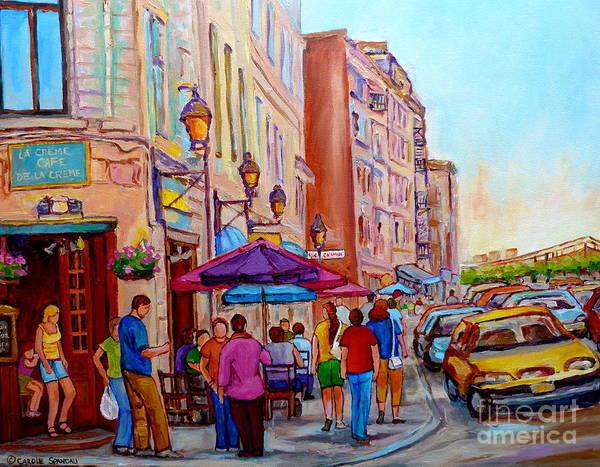 Painting - Paintings Of Old Montreal Streets La Creme De La Creme Cafe by Carole Spandau