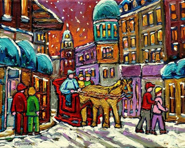Painting - Paintings Of Old Quebec Magical Vieux Port Montreal City Scenes Caleche In Winter Carole Spandau by Carole Spandau