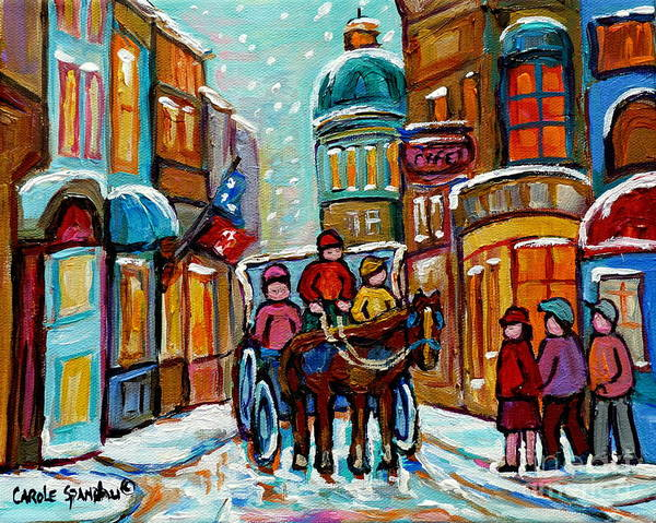 Painting - Paintings Of Snowscenes Old Montreal Winter Scene Art Horse And Buggy Old City Quebec Carole Spandau by Carole Spandau