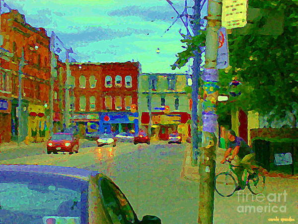 Painting - Paintings Of Toronto Street Scenes Biking By Lennies Grocery Store On  Parliament St Cspandau Art by Carole Spandau