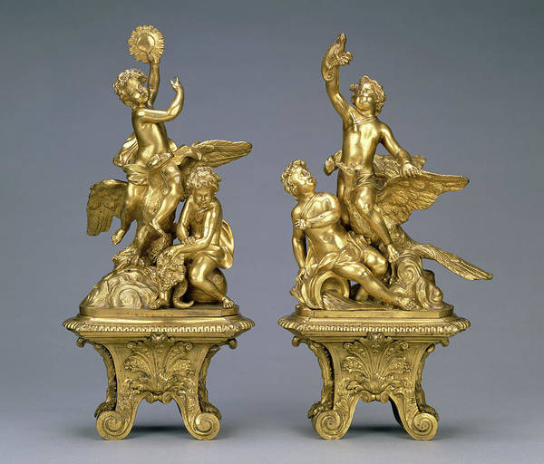 1715 Drawing - Pair Of Firedogs Unknown 1690 - 1715 Gilt Bronze Various by Litz Collection