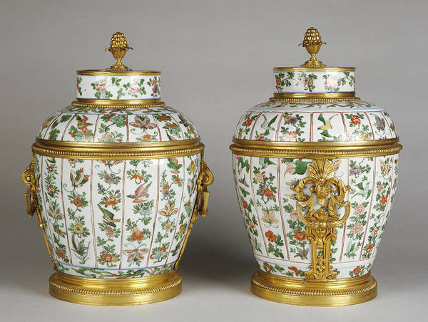 1715 Drawing - Pair Of Mounted Lidded Vases Unknown Porcelain About 1700 - by Litz Collection