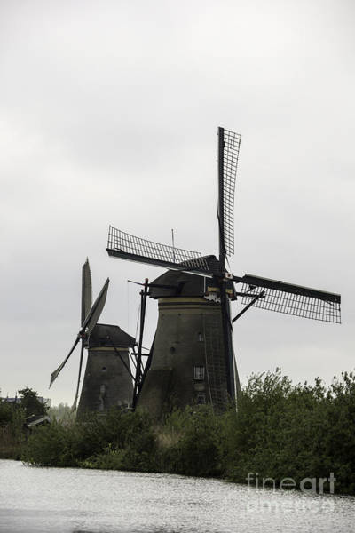 Noord Holland Wall Art - Photograph - Pair Of Windmills Kinderdijk by Teresa Mucha