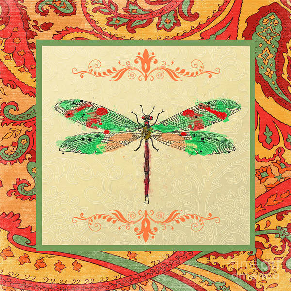 Dragonflies Digital Art - Paisley Madness-jp2338 by Jean Plout