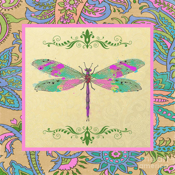 Dragonflies Digital Art - Paisley Madness-jp2339 by Jean Plout