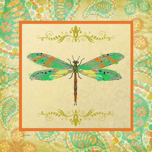 Dragonflies Digital Art - Paisley Madness-jp2340 by Jean Plout