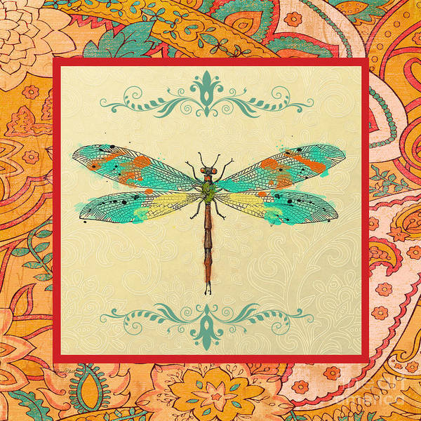Dragonflies Digital Art - Paisley Madness-jp2342 by Jean Plout