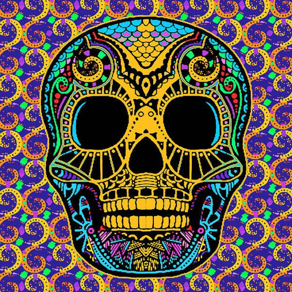 Painting - Paisley Skull by Tony Rubino