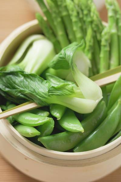 Bamboo Shoots Photograph - Pak Choi, Sugar Snap Peas And Asparagus In Bamboo Steamer (asia) by Foodcollection