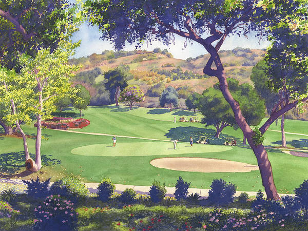 Course Wall Art - Painting - Pala Mesa Golf Course by Mary Helmreich