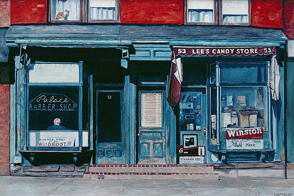 Neighborhood Painting - Palace Barber Shop And Lees Candy Store by Anthony Butera